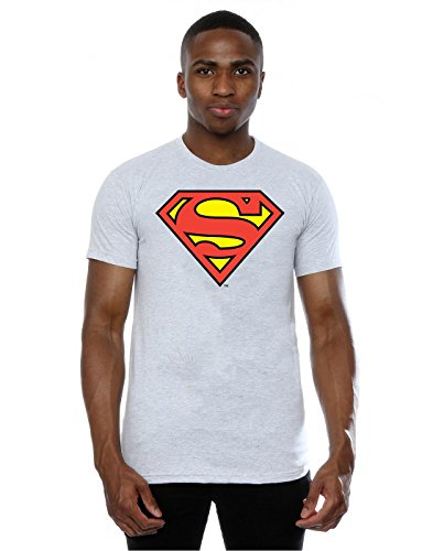 DC Comics Herren Superman Logo T-Shirt XXX-Large Heather Grey