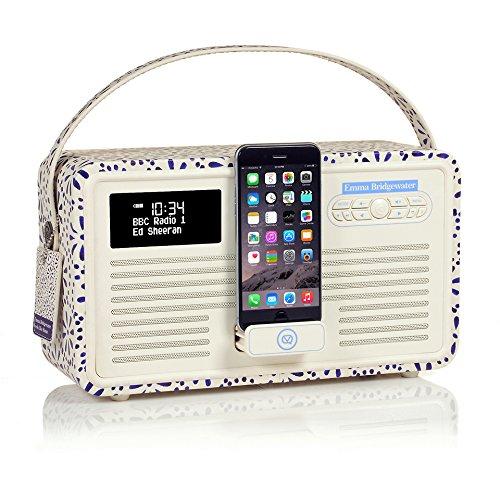 VQ Retro Mk II DAB/DAB+ Digital- und FM-Radio mit Bluetooth, Apple Lightning Dock und 'Retro Mini Hepburn Mk - Emma Bridgewater Blaues Gänseblümchen