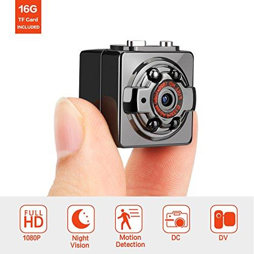 FITFORT Minikamera, FULL HD 1080P 12MP tragbare versteckte Spionage-Kamera mit Nachtsicht, Bewegungserkennung, unterstützt 32GB TF-Karten als Nanny Cam oder für Heim-und Büro-Überwachung