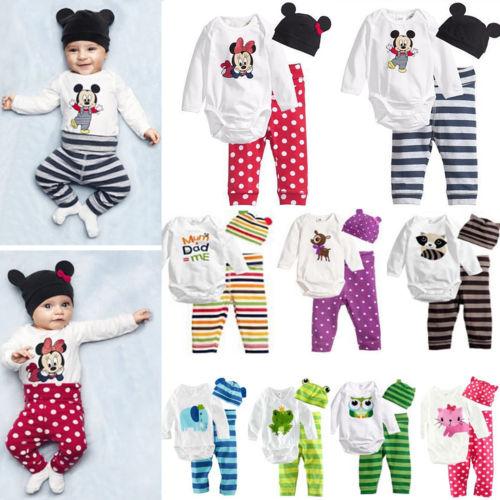 3tlg. Baby Jungen Mädchen Strampler Langarm Body Overall Hose Hut Outfits Set DE
