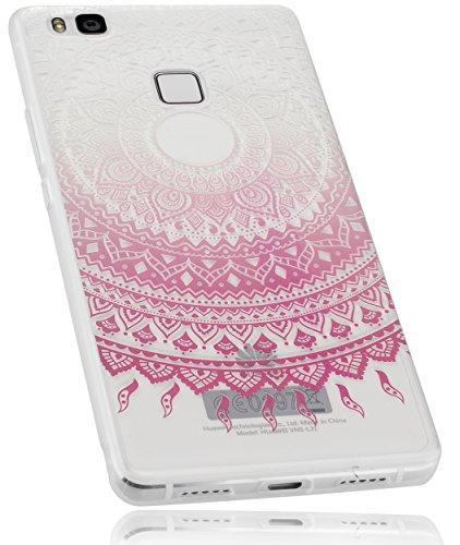mumbi Schutzhülle Huawei P9 Lite Hülle im Mandala Design in transparent rosa