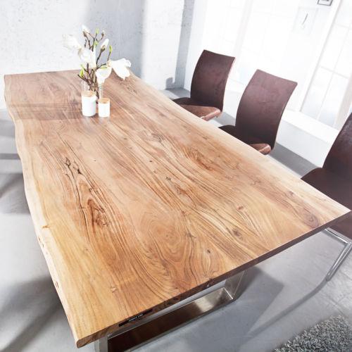 Massiver Baumstamm Tisch MAMMUT Esstisch Tische Massivholz Holztisch Akazie