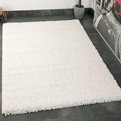 Prime Shaggy Teppich Weiss Hochflor Langflor Teppiche Modern für Wohnzimmer Schlafzimmer - VIMODA, Maße:40x60 cm