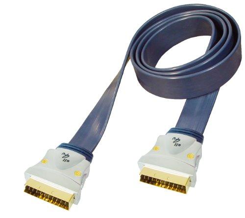 All4u BBVF 2 Scartkabel (Scartstecker - Scartstecker, Flachkabel, 21 polig verschaltet, verchromter Vollmetallstecker) 1,5 m blau