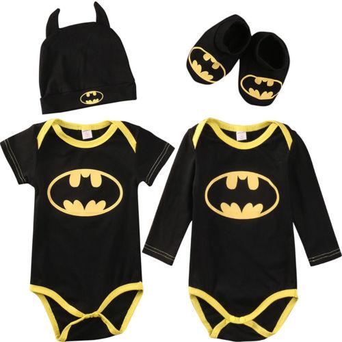 Batman Neugeborenes Baby Jungen Strampler Bodysuit 3 Stücke Outfit Kleidung Set