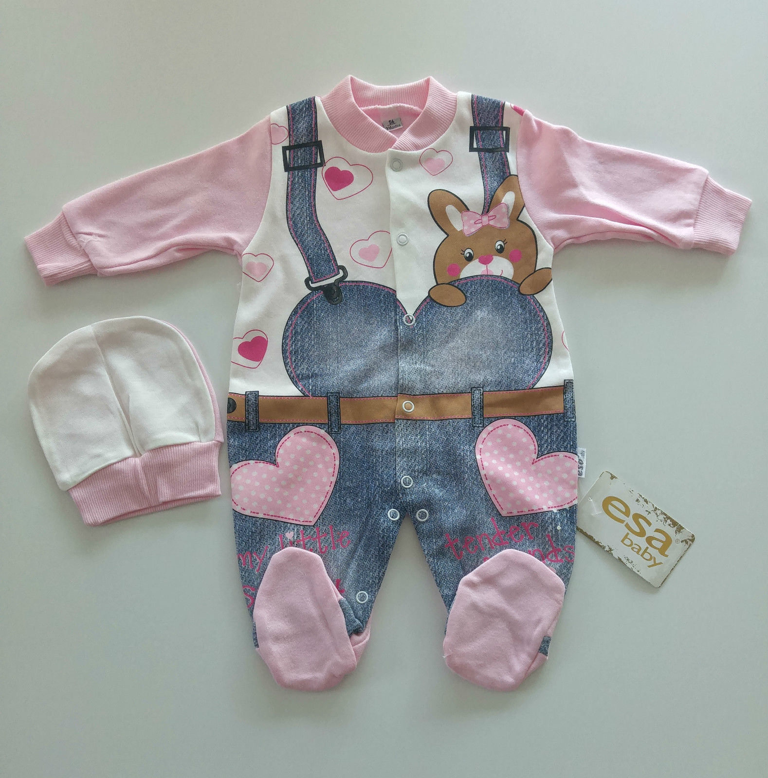 NEU Babykleidung Baby Strampler 2-tlg SET Gr. 56 62 68 Mädchen Jeans Rosa Herz ?