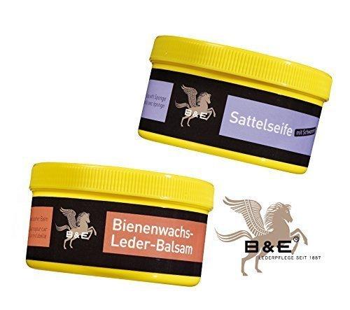 Lederreinigung mit B&E Sattelseife mit Schwamm(250ml) und Bienenwachs Lederpflege Balsam(250ml)