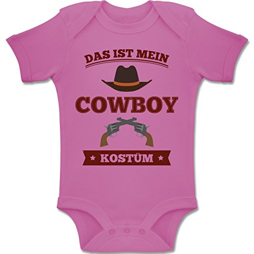 Karneval und Fasching Baby - Das ist Mein Cowboy Kostüm - 1-3 Monate - Pink - BZ10 - Baby Body Kurzarm Jungen Mädchen