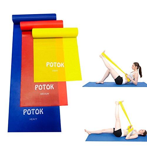 Potok Fitnessbänder 3er-Set 120 x 15 cm für Fitness, Reha, Gymnastik und Physiotherapie | Leicht | Medium | Stark - Fitnessband Trainingsband Gymnastikband, Für Männer & Frauen