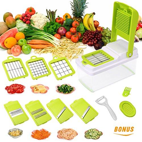 7 Klingen Gemüsehobel Mandoline Gemüseschneider Verstellbarer, Gemüsereibe,Julienneschneider Kartoffelschneider,Manuelle Essen Slicer,Multischneider,Obstschneider,Pflanzliche Slicer,von Godmorn
