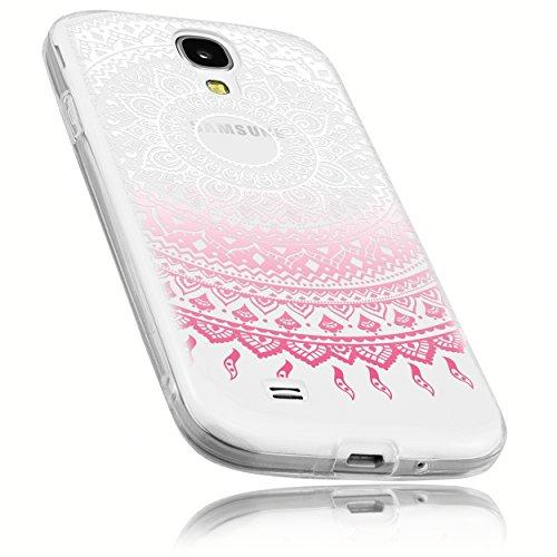 mumbi Schutzhülle Samsung Galaxy S4 Hülle im Mandala Design transparent rosa