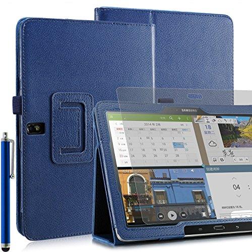 Invero® Premium Hülle Ledertasche umfasst Ständer Feature, Displayschutzfolie und Eingabestift Kugelschreiber für Samsung Galaxy Tab Pro 10,1 Zoll SM-T520 SM-T525 (Blau / Blue)