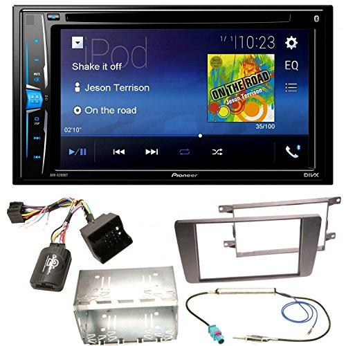 Pioneer AVH-A200BT Bluetooth USB MP3 Autoradio iPhone iPod Doppel Din CD DVD Touchscreen UKW DivX Einbauset für Skoda Octavia 2 Yeti 5L