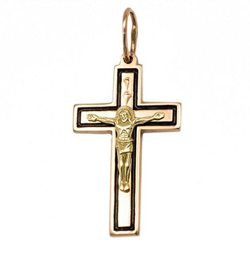 ASS 585 Gold Damen Herren Anhänger Kreuz Kreuzanhänger, mit Jesus Bicolor, emailliert