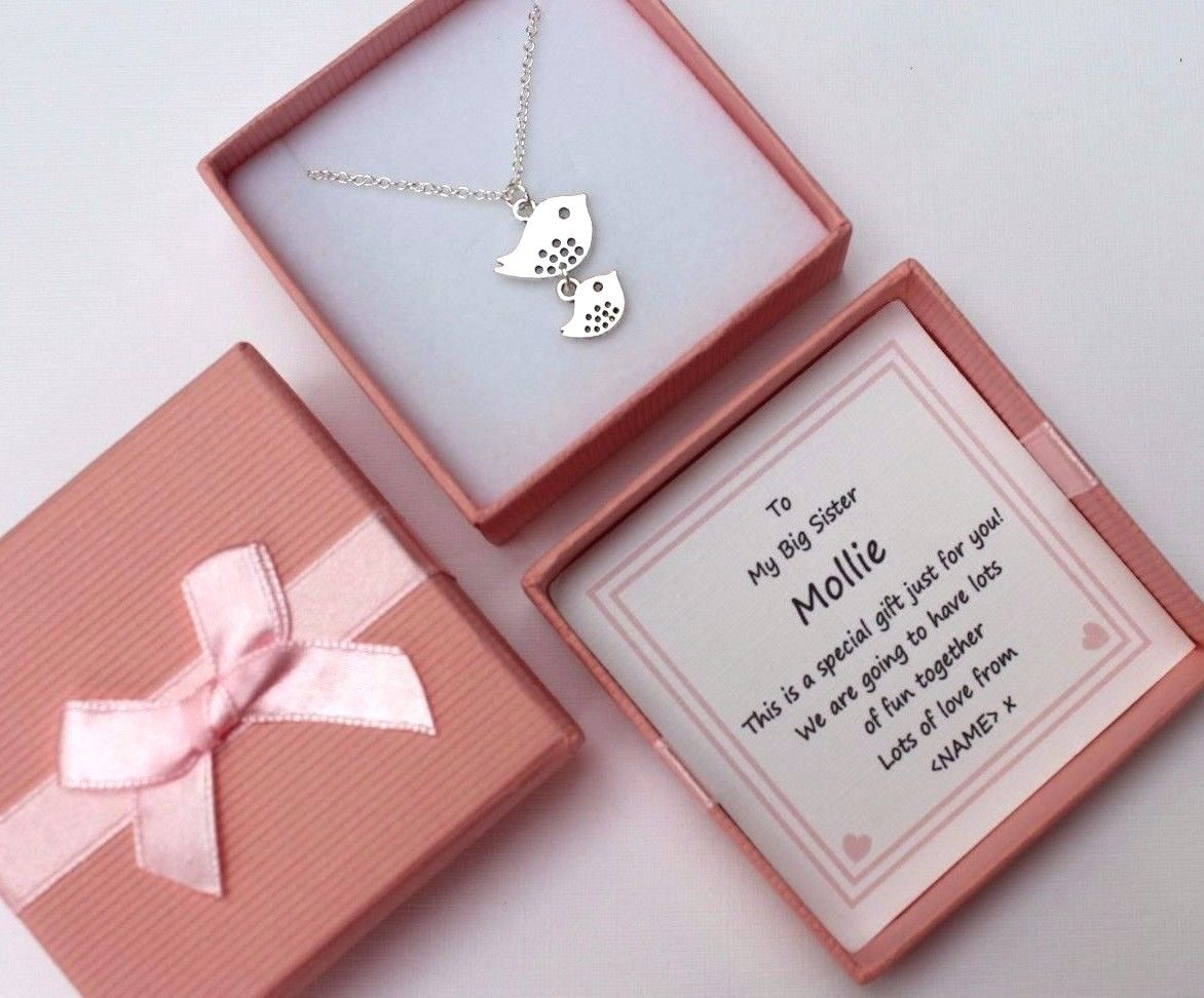 BIG SISTER GIFT PERSONALISED BOX BABY BIRD NECKLACE FROM BABY SISTER OR BROTHER