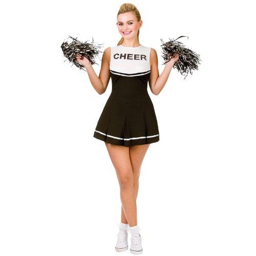 Cheerleader Black / White Sport Costume Woman Fancy Dress