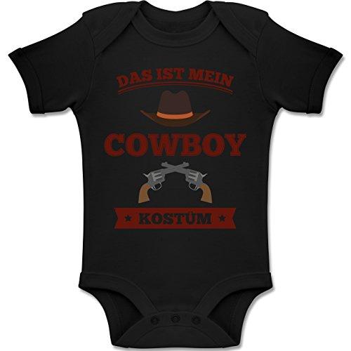 Shirtracer Karneval und Fasching Baby - Das ist Mein Cowboy Kostüm - 1-3 Monate - Schwarz - BZ10 - Baby Body Kurzarm Jungen Mädchen