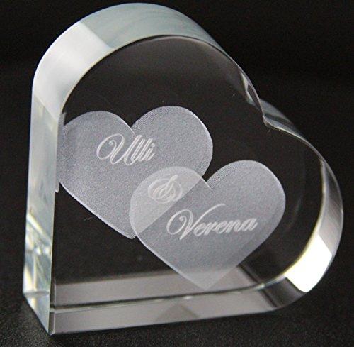 VIP-LASER GlasHERZ L mit zwei großen Herzen und Deinen Namen graviert. Wir gravieren Deine Wunschnamen kostenlos ein - das ideale Partner Liebesgeschenk Geschenk zum Valentinstag, Weihnachten , Jahrestag oder zur Verlobung! Weihnachtsgeschenk