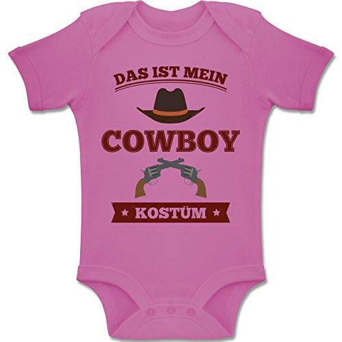 Karneval und Fasching Baby - Das ist Mein Cowboy Kostüm - 6-12 Monate - Pink - BZ10 - Baby Body Kurzarm Jungen Mädchen