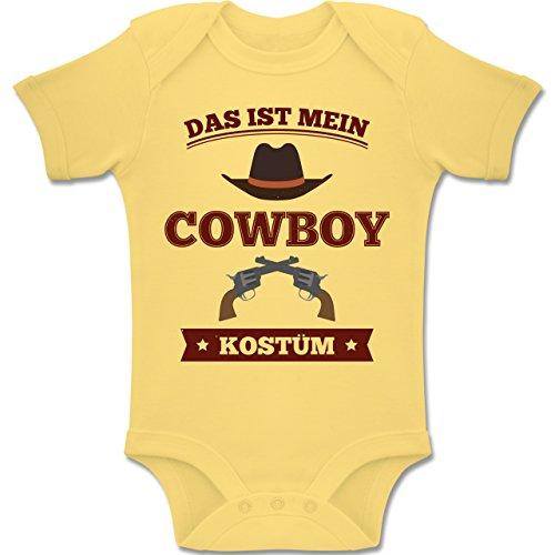 Shirtracer Karneval und Fasching Baby - Das ist Mein Cowboy Kostüm - 1-3 Monate - Hellgelb - BZ10 - Baby Body Kurzarm Jungen Mädchen