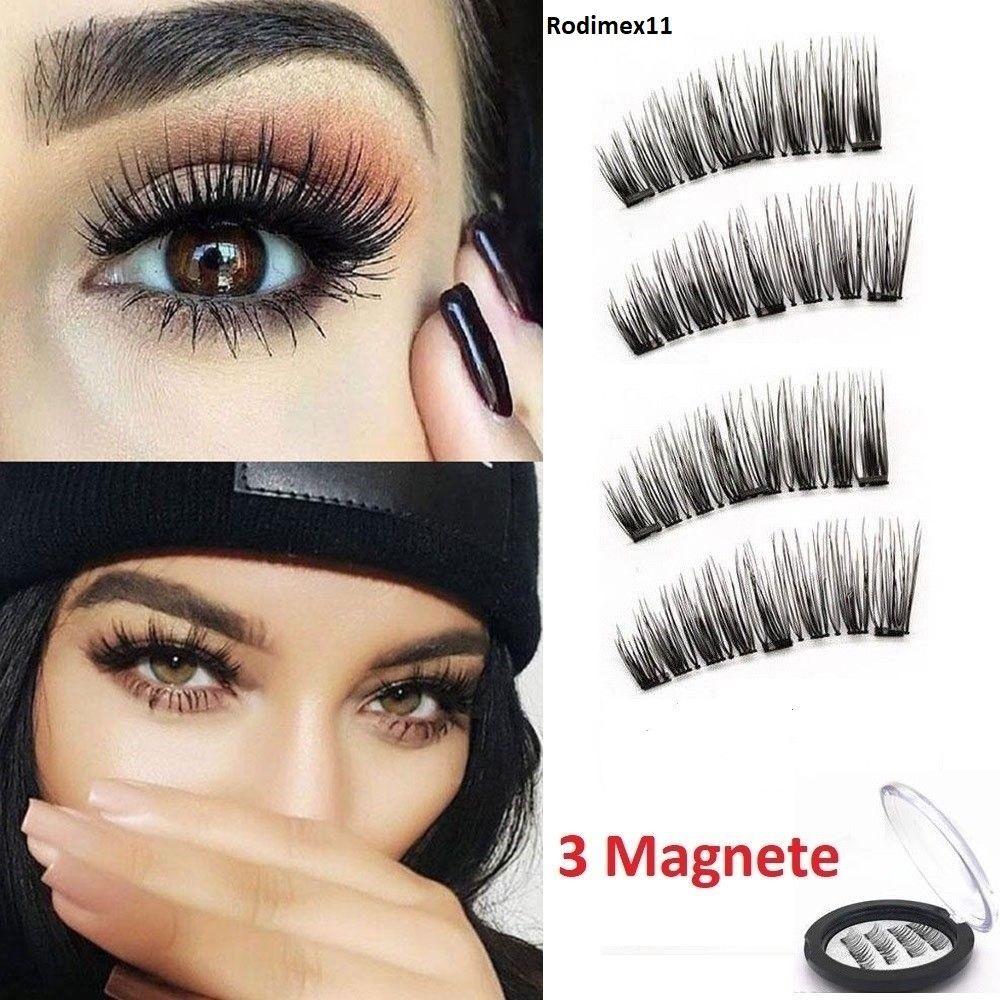 XL 3D Magnet Wimpern mit 3 Magneten Magnetische künstliche Wimpern Eyelashes NEU
