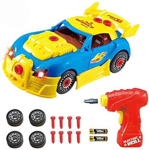 Montage Spielzeug - Konstruktionsspielzeug Rennwagen Set für Kinder TG642 – Bau dein eigenes Auto-Set – 30 Einzelteile mit realistischen Geräuschen + Lichtern von ThinkGizmos (geschützte Marke)