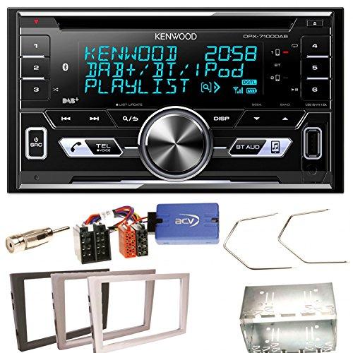 Kenwood DPX-7100DAB Bluetooth USB MP3 Autoradio iPhone iPod Doppel Din AOA 2.0 DAB+ Digitalradio Einbauset für Opel Vectra Omega Corsa Signum Meriva
