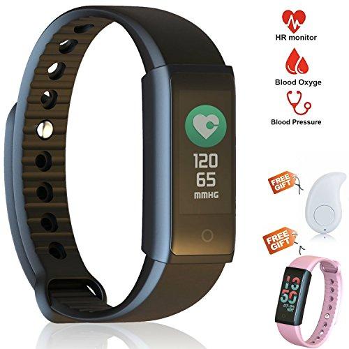 MAK-wifi PREMIUM HR Fitness Tracker mit Herzfrequenz und Blutdruckmessung- Bluetooth Fitnessarmband mit Pulsmesser-Wasserdicht Armbanduhr mit Schrittzähler,Schlafüberwachung Uhr, Aktivitätstracker, Anrufen/SMS für Android iOS iPhone Huawei