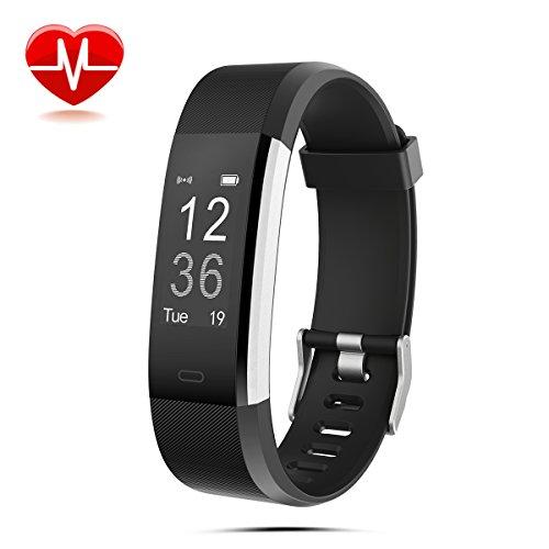 Fitness Armbanduhr LASUAVY Fitness Tracker mit Herzfrequenz Monitor/Schrittzähler/Anrufbenachrichtigungen/Ruhemodus/Kamerabedienung - Wasserdichter Fitness Armband Fitness Armbänder mit Pulsmesser für Android IOS