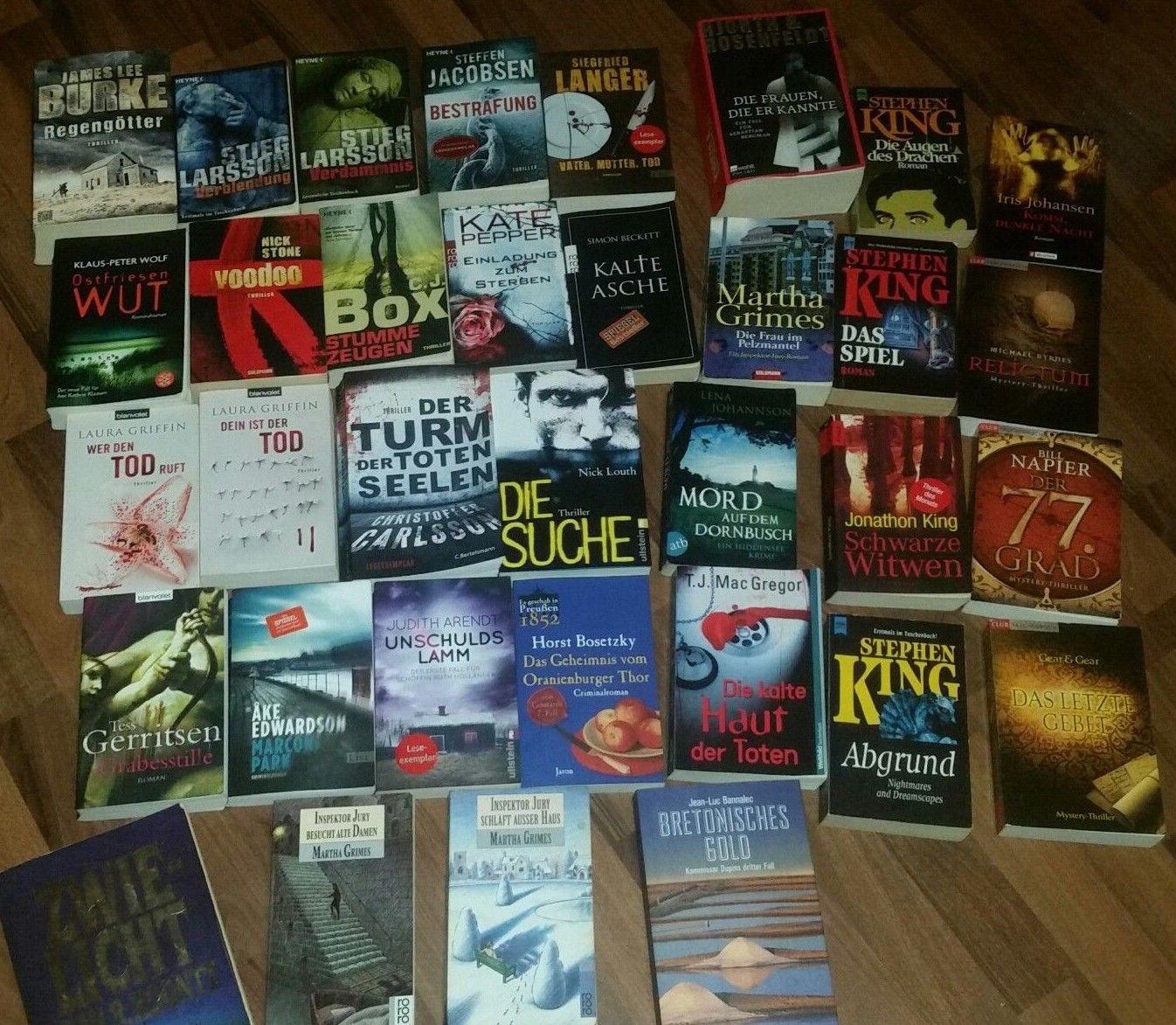 Büchersammlung 34 Stk. Romane Buchpaket Spannung Thriller Krimi Psycho Konvolut