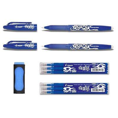 2 Pilot Frixion Ball blau + 6 Ersatzminen 0.7 blau + Radierer als Gratiszugabe