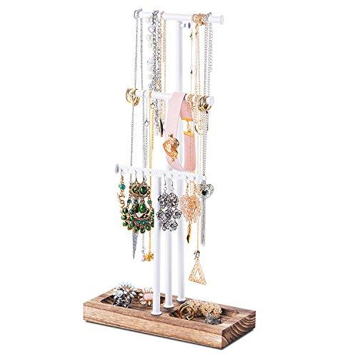 Love-KANKEI® N02 Schmuckständer Schmuckhalter Kettenhalter mit Verkohlungsholztablett und 3 Stäben(einer höheeinstellbar), zur Aufbewahrung von Halsketten, Ohrringen und Armbändern