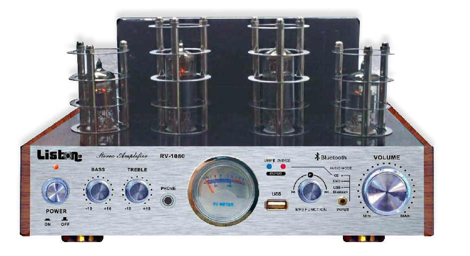 HIFI  HYBRID-RÖHRENVERSTÄRKER LISTON 12 RV-1080, USB, BLUETOOTH, 2 x 16 W RMS