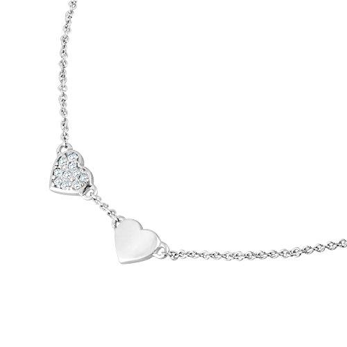 Diamond Line Damen-Collier  mit Herz-Anhänger 375e Weißgold 10 Diamanten ca. 0,03 ct.,  Goldkette / Diamantkette