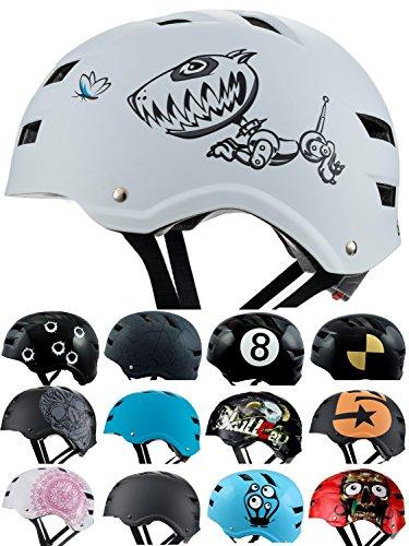 Skullcap® BMX Helm ? Skaterhelm ? Fahrradhelm ?, Herren | Damen | Jungs & Kinderhelm, schwarz matt & glänzend (Robodog, S (51 - 54 cm))