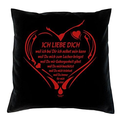 Ich liebe Dich: Kissen inkl. Füllung : 40x40 :: Geschenk für Verliebte zum Valentinstag Valentinstagsgeschenk Männer Frauen Farbe:schwarz