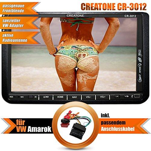 2DIN Autoradio CREATONE CR-3012 für VW Amarok (2010 -) mit GPS Navigation mit Radarmeldung, Bluetooth, Touchscreen, DVD-Player und USB/SD-Funktion