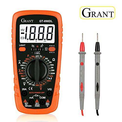 Digital-Multimeter Gran't GT-890DL Polymeter AC/DC-Elektroprüfgerät mit Widerstand Multitester mit Voltmeter, Amperemeter, Ohmmeter mit LCD-Hintergrundbeleuchtung