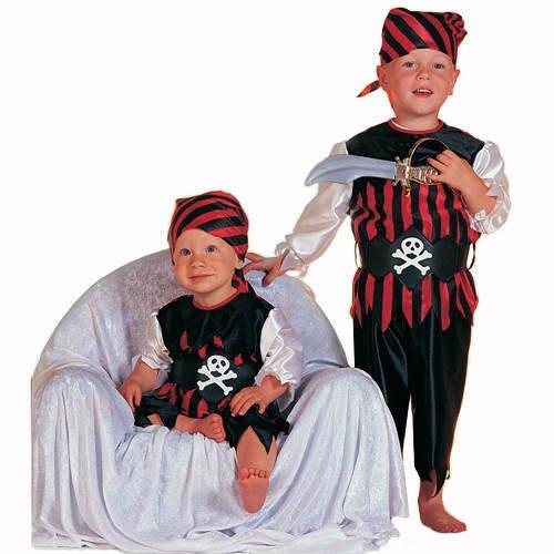 Kleinkind-Kostüm Pirat, rot-schwarz, Gr. 98