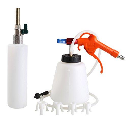 FIXKIT Bremsenentlüftungsgerät, Pneumatische Brems-Handpumpen-Kit Druckluft Nachfüllflasche und Bremsenentlüfter (schwarz-weiß)
