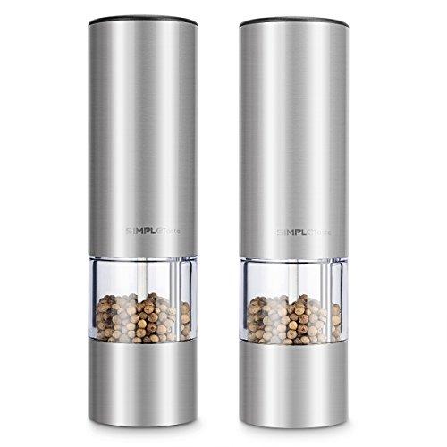 SimpleTaste Elektrische Salz und Pfeffermühle im 2er Set, mit Einstellbarem Keramikmahlwerk, Edelstahl Salzmühle Gewürzmühle mit Sichtfenster
