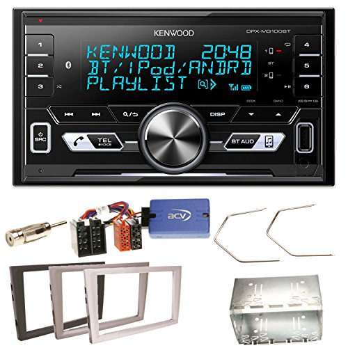 Kenwood DPX-M3100BT Bluetooth USB MP3 Autoradio AOA2.0 iPhone iPod Doppel Din Einbauset für Opel Vectra Omega Corsa Signum Meriva