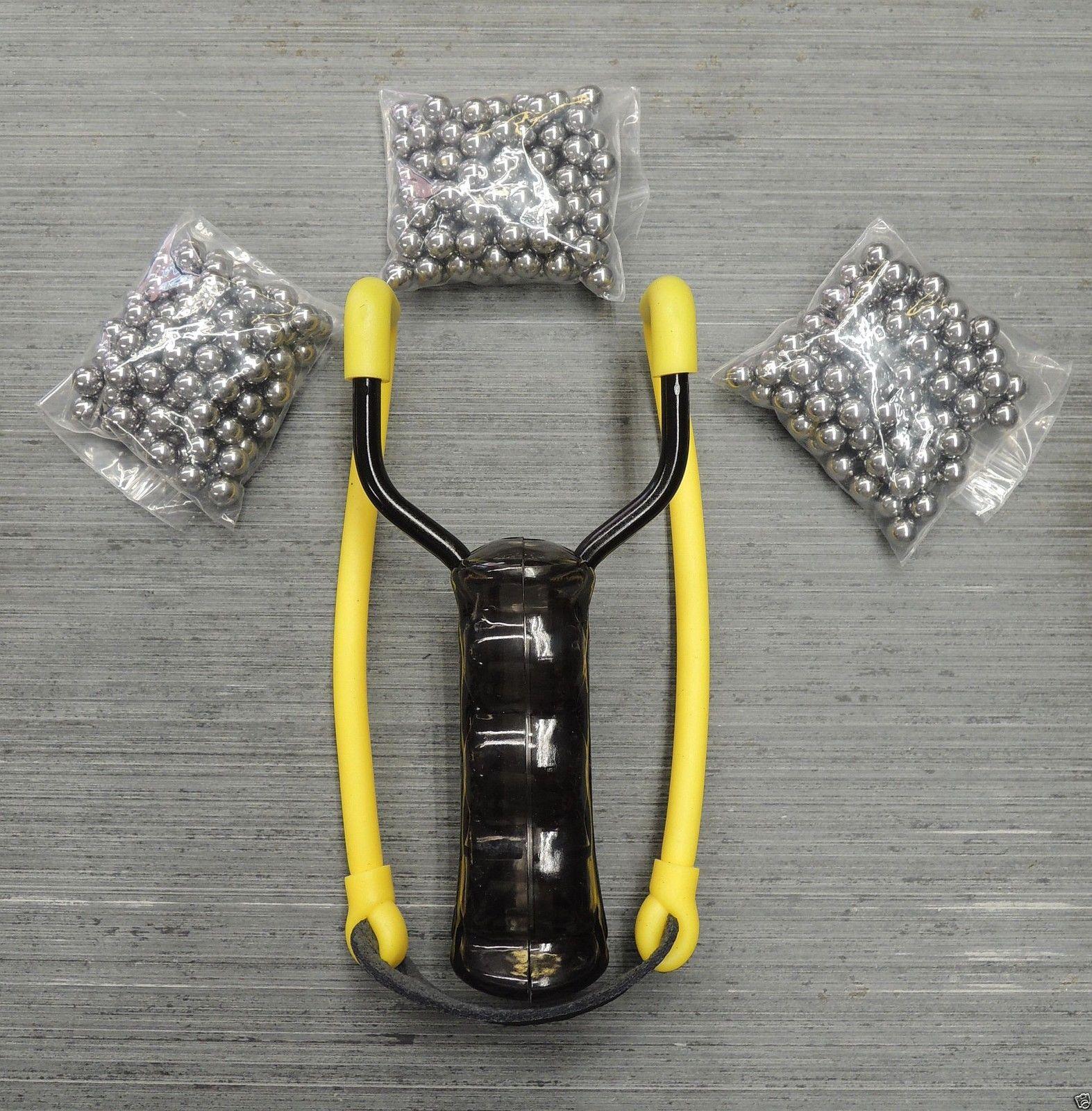 Steinschleuder Schleuder Zwille Sportschleuder mit Magazin + 300 Metallkugeln
