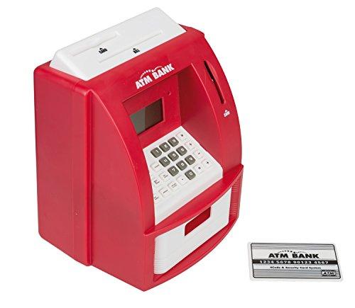 Idena 50021 - Digitale Spardose Geldautomat mit Sound, circa 21.8 x 16 x 14.5 cm, rot