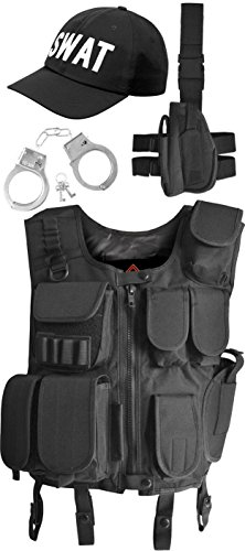 SWAT Kostüm bestehend aus Weste, Pistolenholster, Cap und Handschellen Größe L
