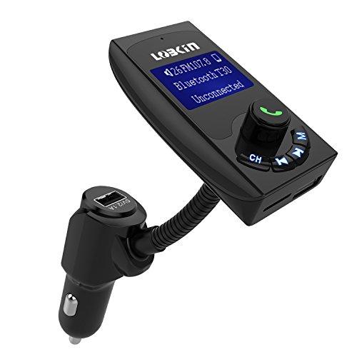 LOBKIN Wireless Bluetooth Radio FM Transmitter mit zwei USB Ladeports ¨C Wireless Auto-FM Radio Adapter mit Freisprech-Einrichtung - Auto-Set mit AUX-Zugang, TF-Kartenslot und 1,44 Zoll Display
