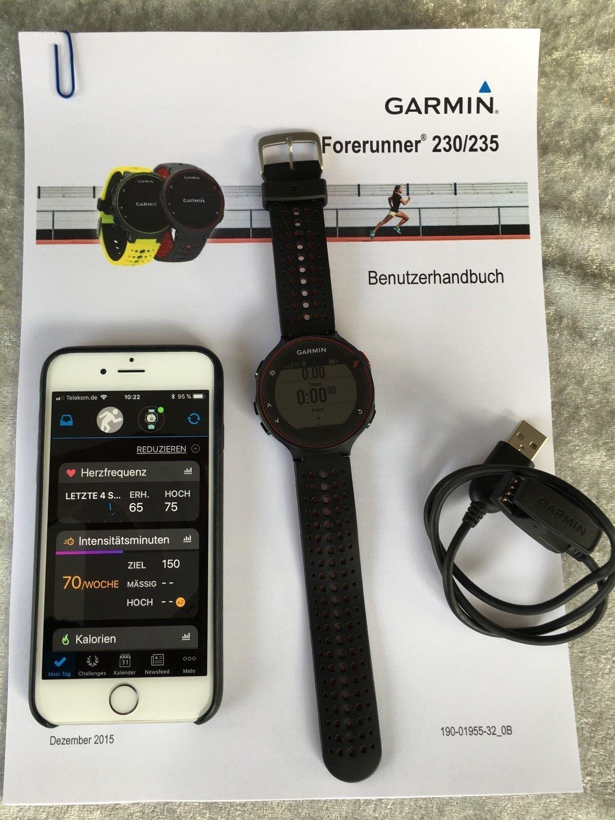 GARMIN FORERUNNER 235 GPS HERZFREQUENZMESSER Schwarz/Marsala-Rot