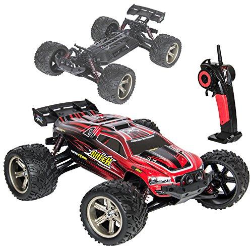 Ferngesteuertes Auto 1:12 RC Monstertruck Elektronischer Rennbuggy mit Einer Höchstgeschwindigkeit von 38km/h, 2.4GHz 2WD Offroad Funkgesteuertes Fahrzeug für drinnen und draußen Rot