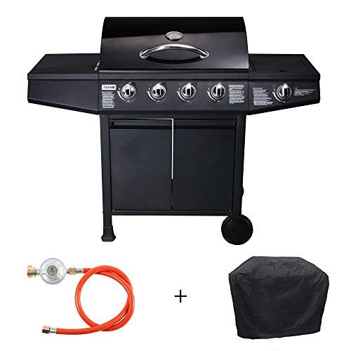TAINO® Gasgrill BBQ Grillwagen 4 Edelstahl-Brenner 1 Seitenkocher Gas-Grill TÜV Farbe Schwarz optional im Set / Zubehör (4+1 Gasgrill + Zubehör)