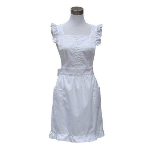 Hyzrz Weiß Prinzessin Schürze handgefertigt Kochschürze Küchenschürze Latzschürze Servier schürze (Weiß)
